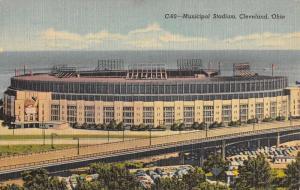 Cleveland Ohio Municipal Stadium Birdseye View Antique Postcard K92266