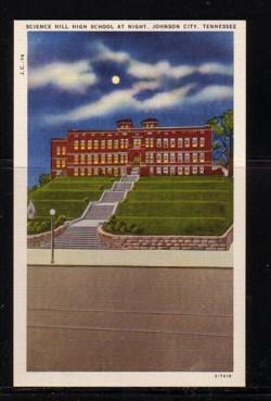 Tennessee colour PC Science Hill High School at night Johnson City, unused