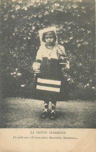 Post card ethnic type young Italian girl folk traditional costume