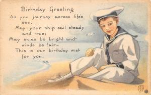 Sailor Boy on Sandy Beach Sends Birthday Greeting~Journey Life's Sea~Artist~1923
