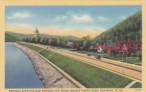 Kanawha Boulevard from Kanawha City Bridge showing Capitol Dome, Charleston, ...