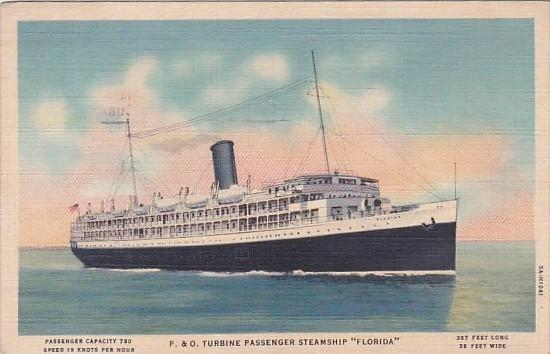 P & O Turbine Passenger Steamship Florida 1937 Curteich