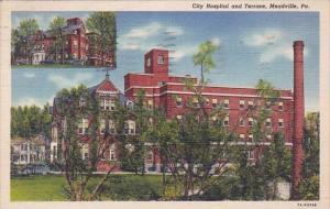 City Hospital And Terrace Meadville Pennsylvaina 1944