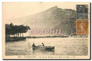 Old Postcard Aix les Bains on Lake Bourget and the Dent du Chat