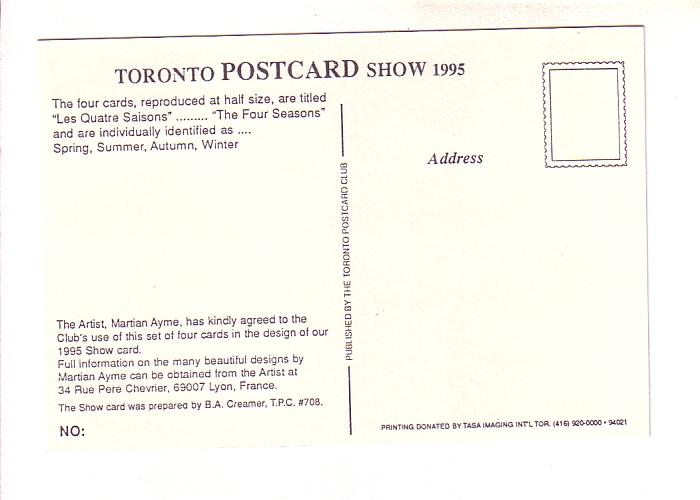 Great Canadian Postcard Exposition, 14th Annual, 1995, Toronto Ontario, Art '...