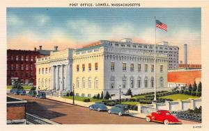 Post Office, Lowell, Massachusetts, early linen postcard, unused