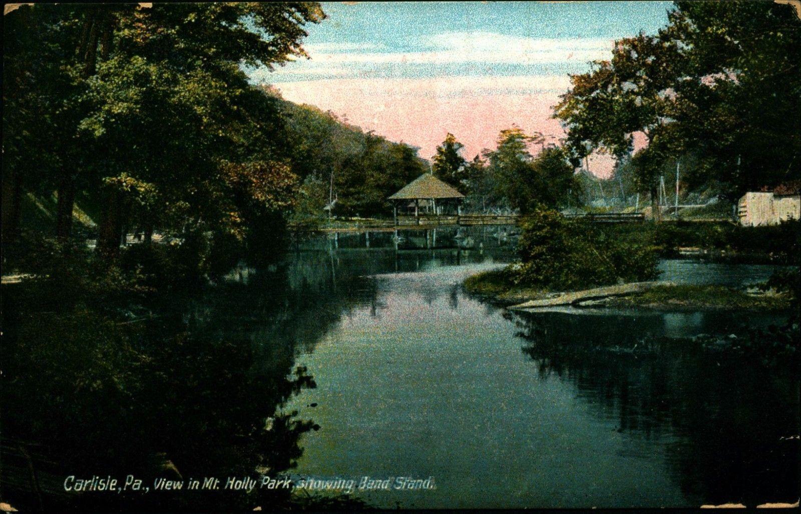 CARLISLE PA Mt Holly Park, Band Stand, 1912 Vintage Postcard