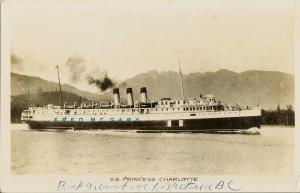 1910 Canadian Pacific Railway Real Photo PC: SS Princess Charlotte Underway