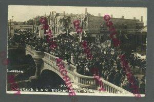 Aurora ILLINOIS RPPC 1909 G.A.R. PARADE Civil War Veterans ENCAMPMENT Crowd