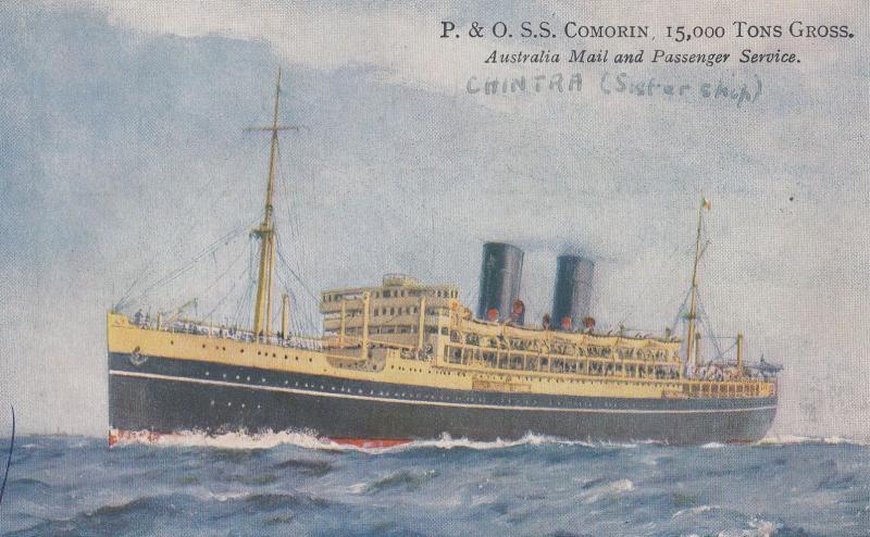 P&O SS Comorin Australia Steamer Mail Ship Postcard