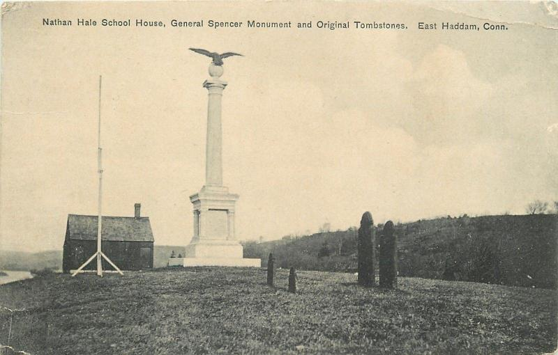 East Haddan CT~Nathan Hale School House~Spencer Monument~Tombstones c1910