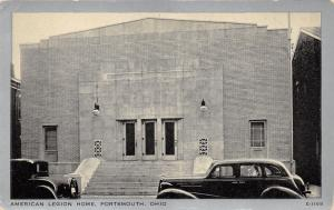 Portsmouth Ohio~American Legion Home~30s-40s Cars Parked~Silver Border Postcard