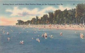 Pennsylvania Erie Bathing Beach And Bathers Most Popular Beach On The Peninsula