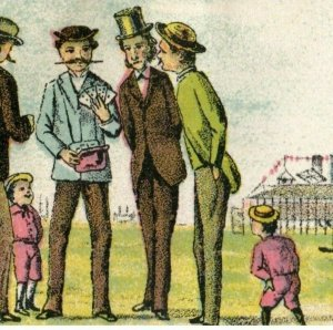1870's Men Illegally Gambling Coney Island Scene Trade Card P95