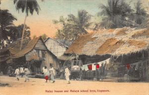 Singapore Malay Houses and Malays School Boys Postcard