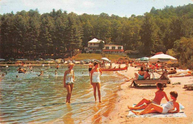 Hendersonville North Carolina beach scene Laurel Lake Inn vintage pc ZD549889