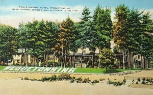 Wequetonsing Hotel Traverse Bay Harbor Point Michigan MI Vintage Postcard A9d