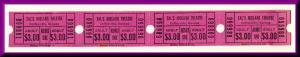 Four Tal's Midland Theatre Movie Tickets, Coffeyville, Kansas/KS, 1970's?