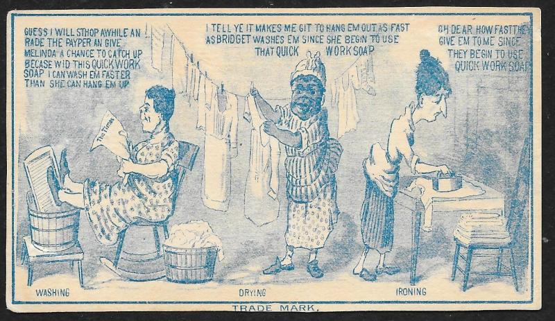 VICTORIAN TRADE CARD Quick Work Soap Blue Cartoon Three Woman Doing Laundry