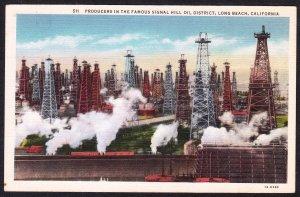 CA - Long Beach - Signal Hill Oil Field unused linen - 1940