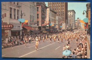 Memphis Tennessee Cotton Carnival street marching band postcard