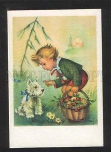 071543 BULGARIA Puppy Westie TERRIER w/ Boy in Forest MARIAPIA