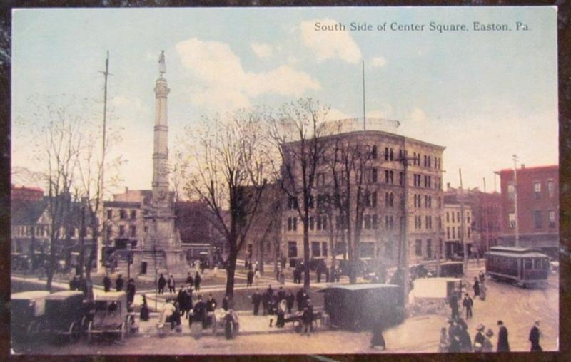 SOUTH SIDE OF CENTER SQUARE EASTON PA POSTCARD