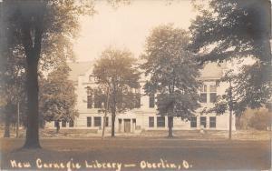 Oberlin Ohio~New Carnegie Library~West Lorain Str~1905 Real Photo Postcard~RPPC