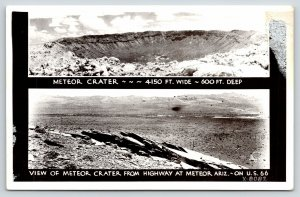 Winslow Arizona~Meteor Crater View from Highway~Route 66~Close Up~1940s RPPC