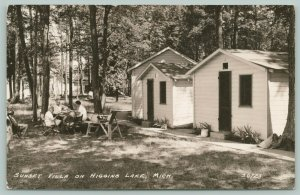 Higgins Lake Michigan~Cabins #2 & #3 @ Sunset Villa, Family @ Table RPPC c1934
