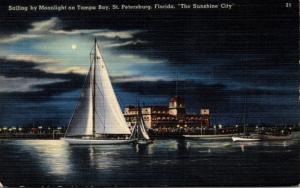 Florida St Petersburg Sailing By Monlight On Tampa Bay 1946