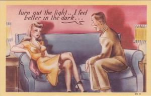 Man telling beautiful blonde turn out the light .. I feel better in the dark...