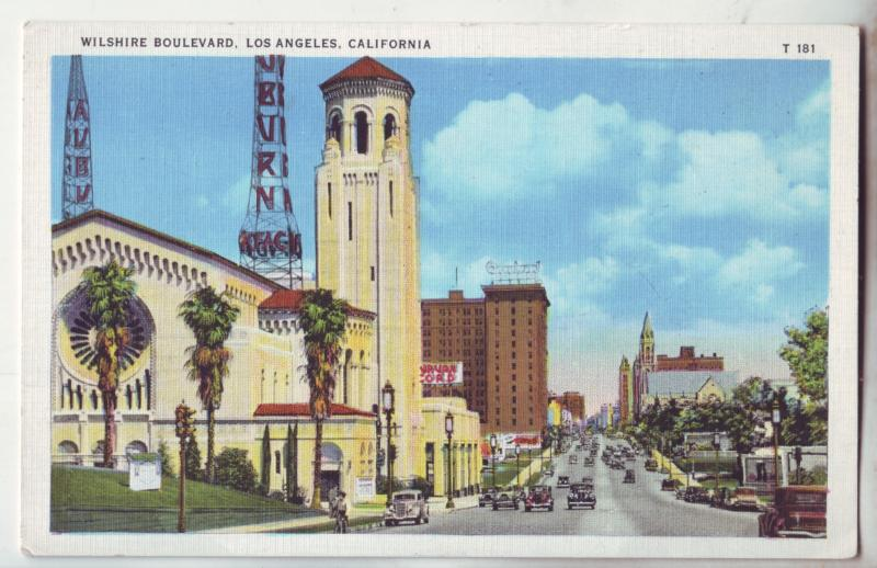 P1093 old linen card unused old cars signs etc wilshire blvd los angeles calif