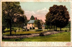 Postcard Whittier's Birthplace Haverhill Mass 1907 Marion NY Red Letter   1340