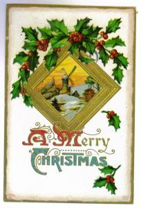 Saint Lawrence to Cape Vincent, New York used 1911 Embossed Christmas Post Card