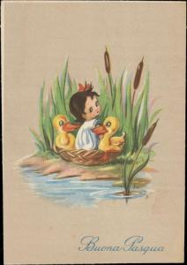 Happy Easter Buona Pasqua little girl ducks fantasy artist Bram