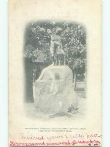 Pre-1907 NEWSBOY FOUNTAIN AT BELLE ISLE Detroit Michigan MI Q2419