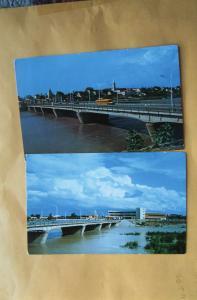 Rio Grande River Bridge, Laredo, Texas, Nuevo, Mexico Vtg Postcard