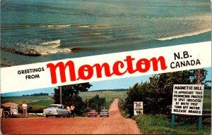 Moncton NB Canada Greetings Postcard used 1960