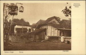 Native Village - Djocja Java Indonesia c1910 Postcard