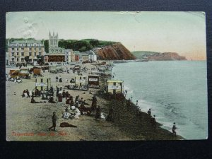 TEIGNMOUTH Beach & Pier shows BATHING HUTS & BEECHAM'S PILLS Ad c1904 Postcard