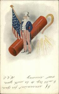 4th Fourth of July July Uncle Sam Giant Firecracker American Flag Postcard