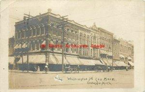 MI, Owosso, Michigan, RPPC, Washington Street, Corner Of Main, 1909 PM, Photo