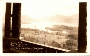 Vtg The Narrows of Lake George from Mr Loomis Cottage New York NY RPPC Postcard