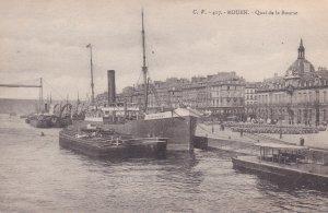 ROUEN, Seine Maritime, France, PU-1916; Quai de la Bourse, Steamer