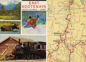 Canada Britsh Columbia Map Of The East Kootenays