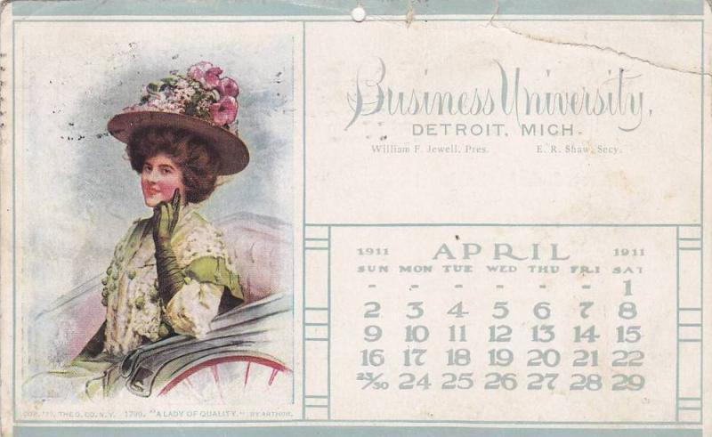 Business University Calender postcard , DETROIT , Michigan , 1911 - April