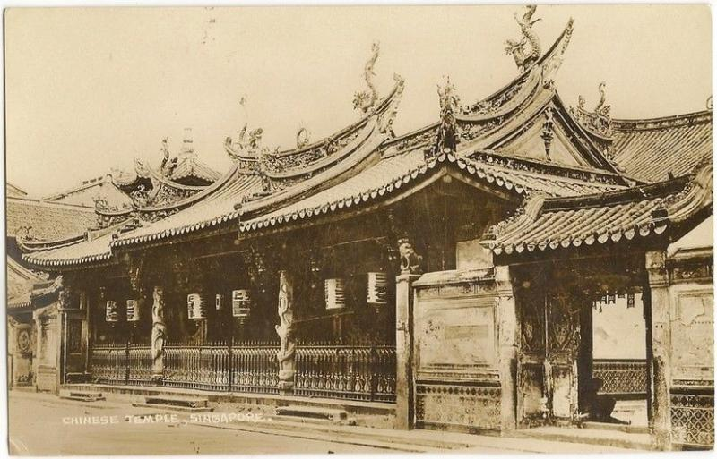 Singapore Chinese Temple old RP postcard