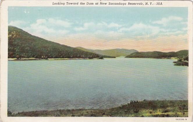 New York Looking Toward The Dam At New Sacandaga Reservoir Curteich