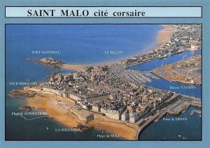 France Saint Malo Cite Corsaire Vue aerienne, Plage du Mole, Tour Bidouane